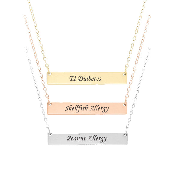 Dainty Personalized Medical Alert ID Necklace - Anavia Jewelry