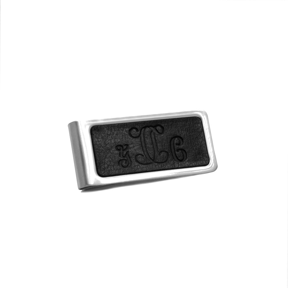 Monogram Initials Stainless Steel Leather Money Clip - Anavia Personalized Jewelry & Gifts