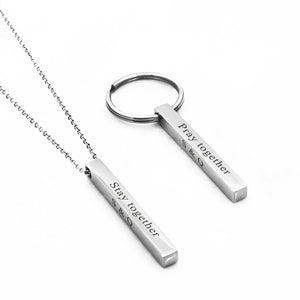 Custom 4 Sided Bar Necklace and Keychain Gift Set for Couples Anniversary - Anavia Personalized Jewelry & Gifts