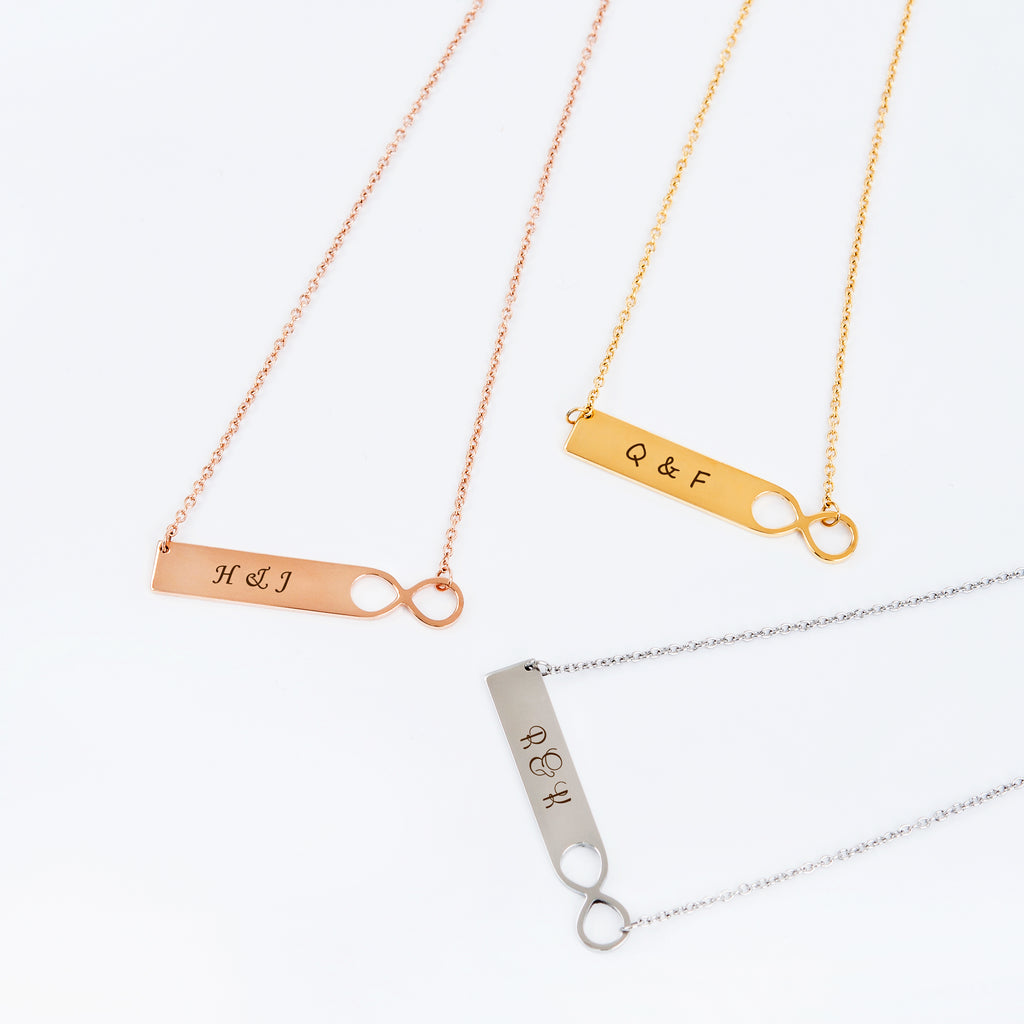 Personalized Couple's Infinity Bar Necklace - Anavia Jewelry