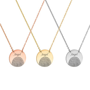 Personalized Half Fingerprint Round Memorial Necklace for Family and Friend - Anavia Personalized Jewelry & Gifts