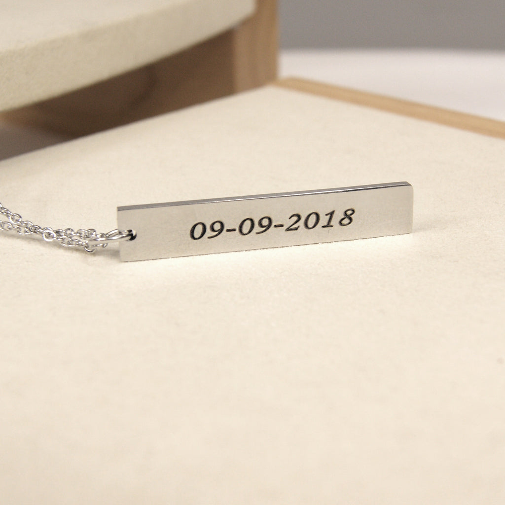 Personalized Name and Fingerprint Bar Keepsake Necklace, Memorial Jewelry for Family and Friend - Anavia Memorial Jewelry