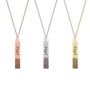 Personalized Name and Fingerprint Bar Keepsake Necklace, Memorial Jewelry for Family and Friend - Anavia Personalized Jewelry & Gifts