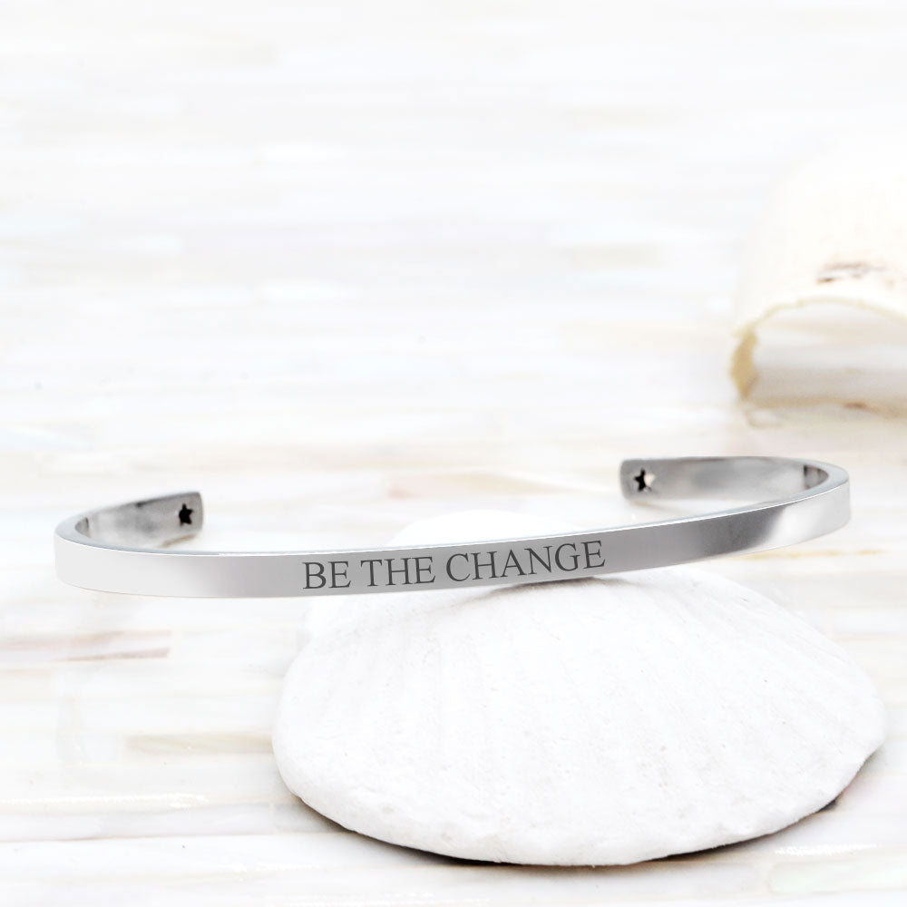 """Be The Change Cuff Bracelet"" Motivational Gift Box - Anavia Personalized Jewelry & Gifts"