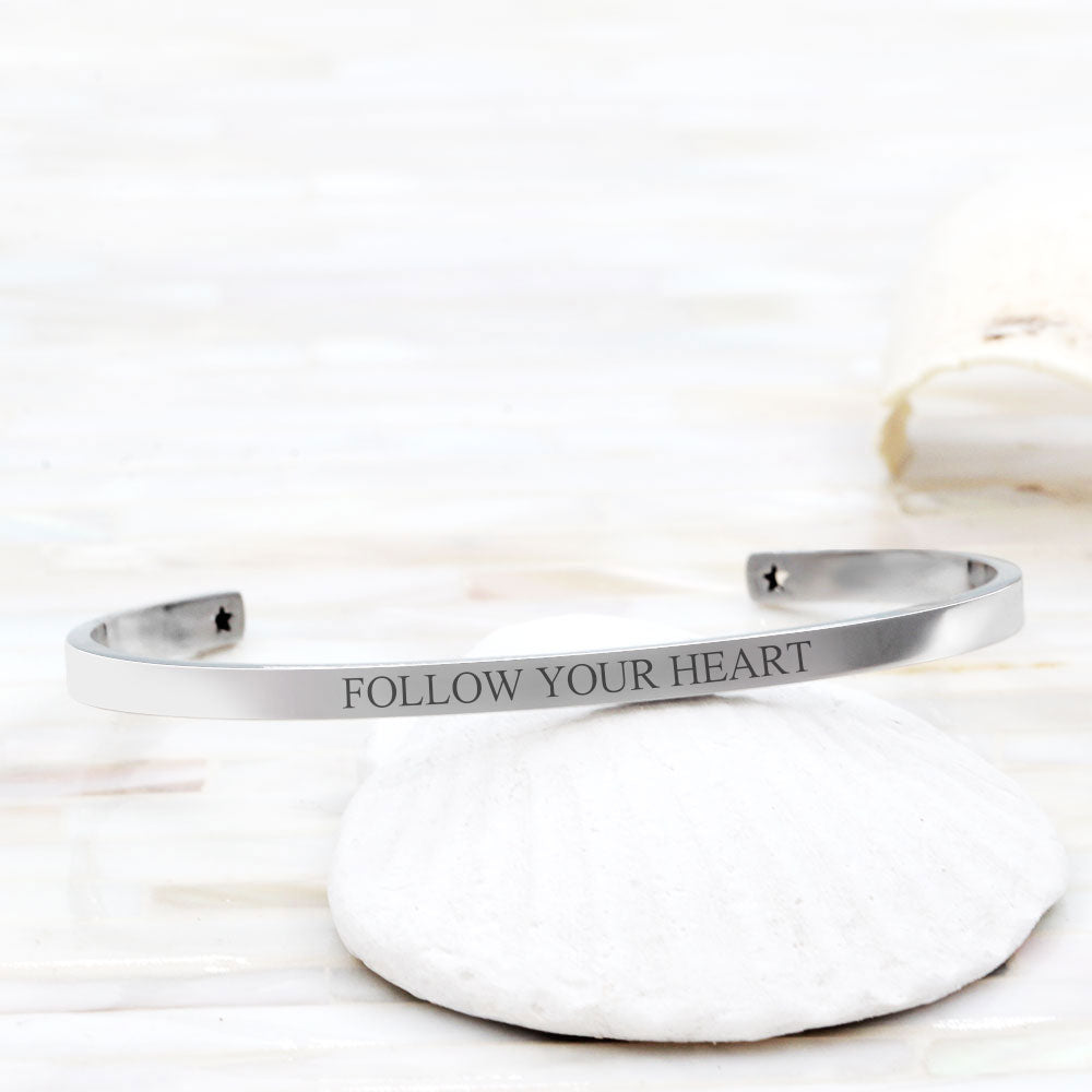 Follow Your Heart Cuff Bracelet Motivational Gift Box - Anavia Personalized Jewelry & Gifts