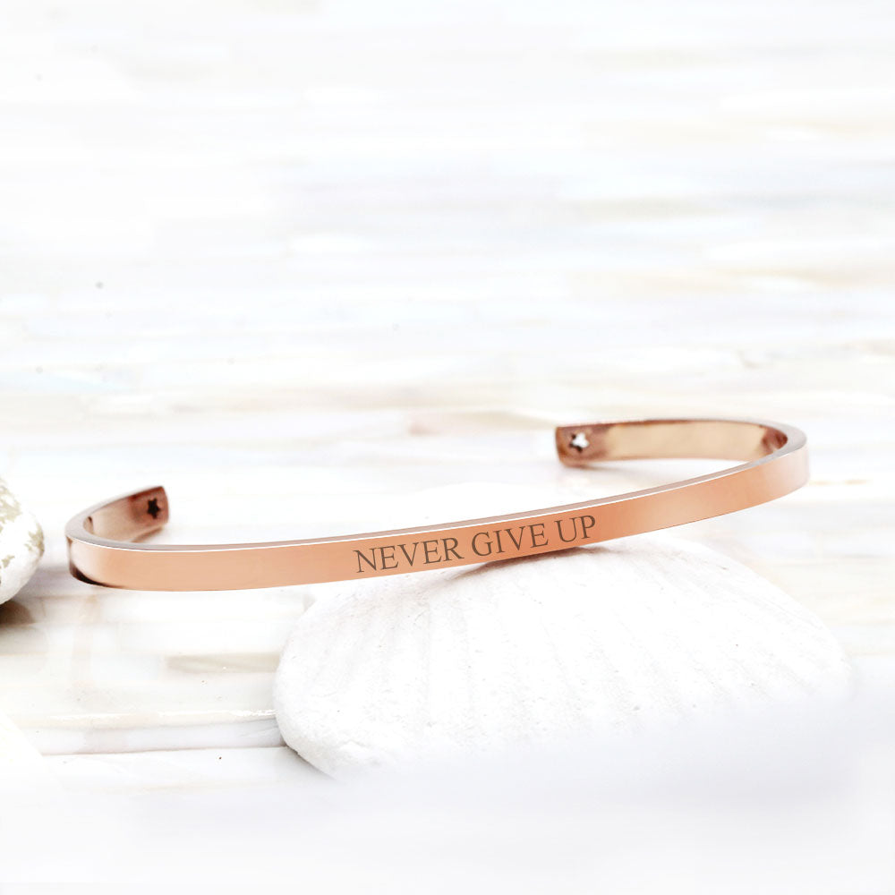 Never Give Up Cuff Bracelet Motivational Gift Box - Anavia Personalized Jewelry & Gifts