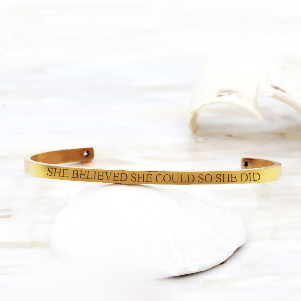 She Believed She Could So She Did Inspirational Cuff Bracelet Gift Box - Anavia Personalized Jewelry & Gifts