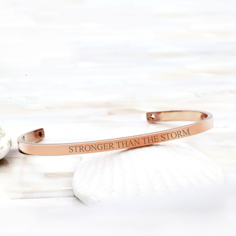 Stronger Than The Storm Inspirational Cuff Bangle with Gift Box - Anavia Personalized Jewelry & Gifts
