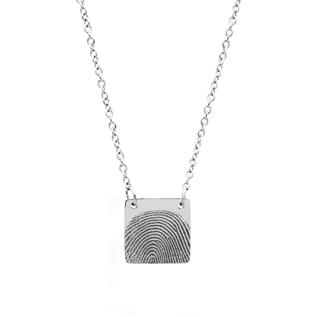 Personalized Fingerprint Silver Square Memorial  Necklace for Family and Frined - Anavia Memorial Jewelry