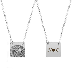 Personalized Fingerprint Silver Square Memorial  Necklace for Family and Frined - Anavia Personalized Jewelry & Gifts
