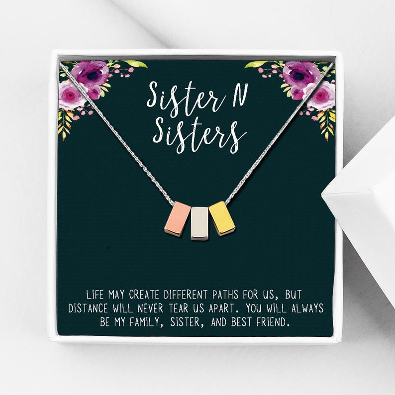Sister N Sisters Motivational Gift Box - Cube Necklace - Anavia Personalized Jewelry & Gifts