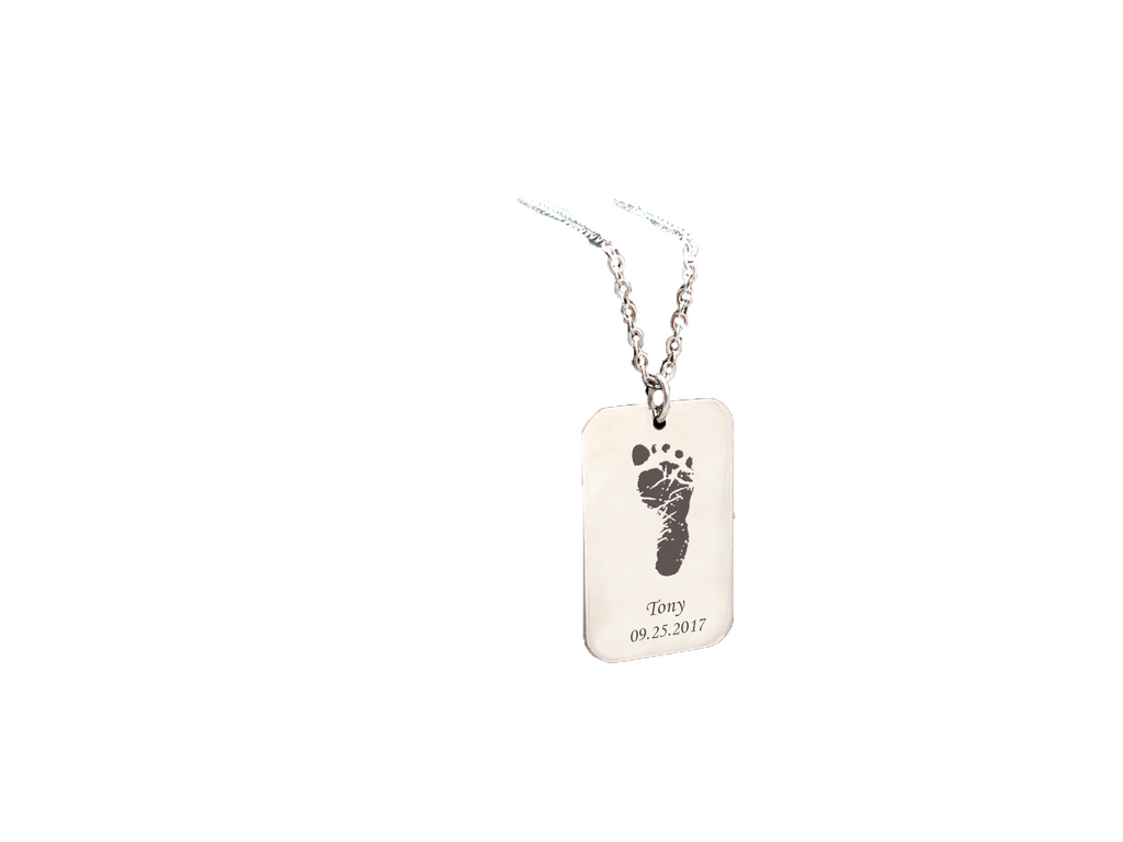 Personalized Newborn Baby Footprint Necklace for Men - Anavia Personalized Jewelry & Gifts