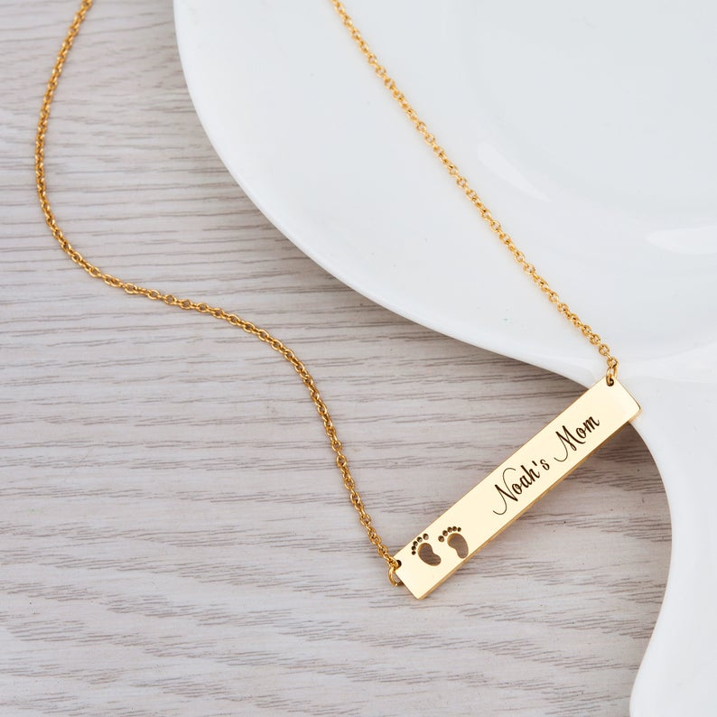 Personalized Footprint Bar Necklace - Anavia Personalized Jewelry & Gifts