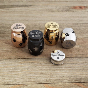 Custom Paw Prints Pet Cremation Mini Urn, Engraving Cremation Memorial Mini Urn for Pet Ashes