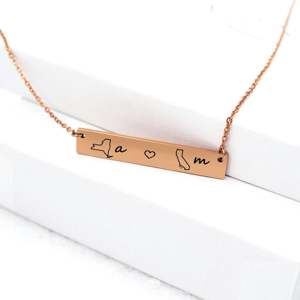 Personalized Long Distance Bar Necklace - Anavia Jewelry