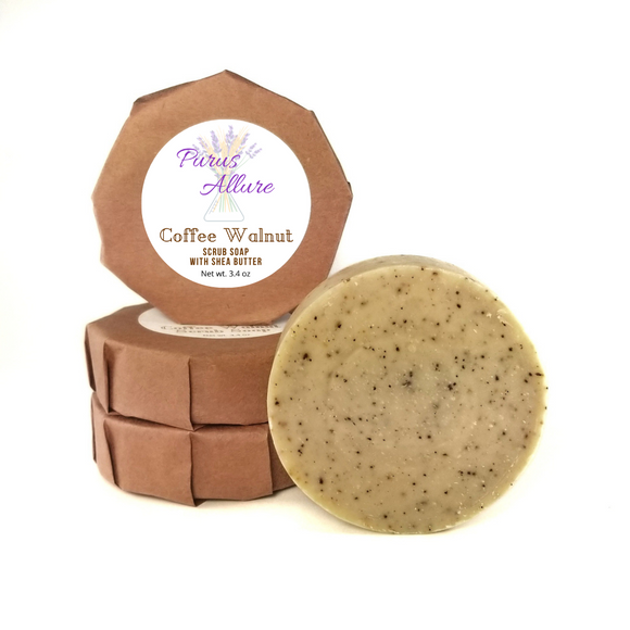 Coffee Walnut Scrub Soap with Shea Butter