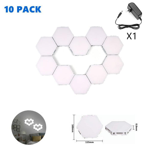 Image of Free Shipping 10 Pack Hexagonal LED Wall Light, DIY Modular Touch Sensitive Lights LED Night Light for Home Decor, Gifts