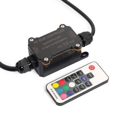 Image of DC 12V-24V RF163 IP65 Waterproof Wireless RGB Controller with Mini RF Wirelless 17keys Remote Controller for SMD5050 3528 RGB LED Strip Lights