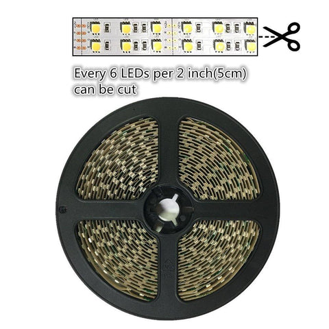 Image of DC 12V Red/Blue/Green/Yellow Dimmable SMD5050-600 Double Row Flexible LED Strips 120 LEDs Per Meter 15mm Width 1800lm Per Meter