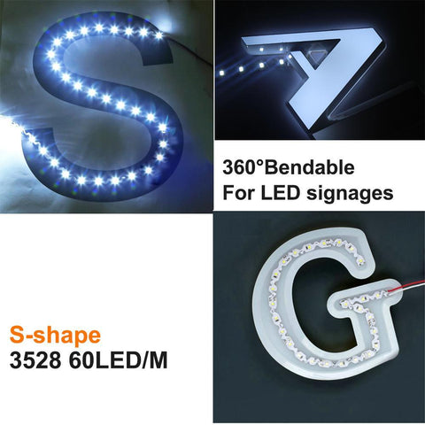 Image of DC 12V SMD2835 60LED per Meter Extremely Bendable Flexible LED Strips for Bends and Curves Signage 6mm Width