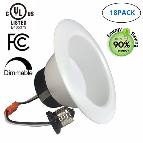 Image of Free Shipping 18 Pack UL CUL Listed Dimmable 6 Inch 120V AC 17W 1400 Lumen ( 90W Equivalent) Recessed LED Retrofit Downlight Kit
