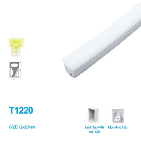 Image of 1M/5M/10M/20M  Pack of T1220 3 Sides Edge Lighting LED Neon Light Housing Kit with End Caps and Mounting Clips, Flexible Neon Channel Fit for 10mm Wide LED Strip Lights