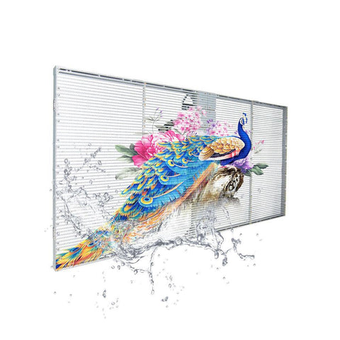 Image of tClear Series Tri-proof P3.9/7.8mm Transparent LED Display 800nits/2500nits/4500nits in Size 1000x500mm Aluminum Cabinet for Indoor Installation for Glass /Window
