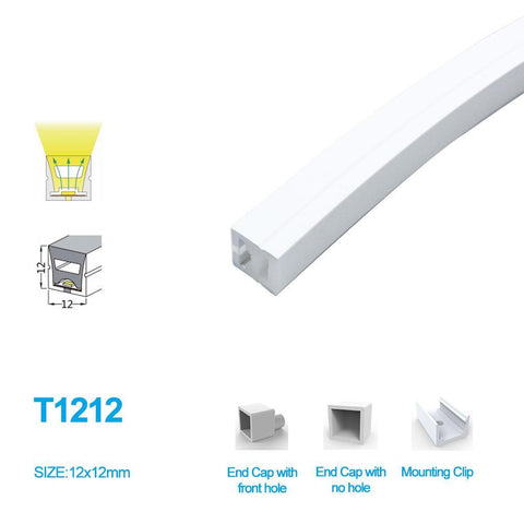 Image of 1M/5M/10M/20M Pack of  T1212  LED Neon Light Housing Kit with End Caps and Mounting Clips, Flexible Neon Channel Fit for 8mm Wide LED Strip Lights