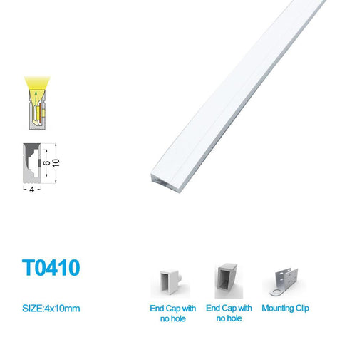 Image of 1M/5M/10M/20M  Pack of T0410 LED Neon Light Housing Kit with End Caps and Mounting Clips, Flexible Neon Channel Fit for 5mm Wide LED Strip Lights