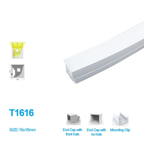 Image of 1M/5M/10M/20M Pack of T1616 Edge Lighting LED Neon Light Housing Kit with End Caps and Mounting Clips, Flexible Neon Channel Fit for 10mm Wide LED Strip Lights
