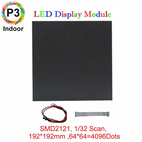 Image of M-ID3 P3 Normal Indoor Series LED Module,Full RGB 3mm Pixel Pitch LED Display Tile in 192*192mm with 4096 dots, 1/32 Scan, 800 Nitsfor indoor Display