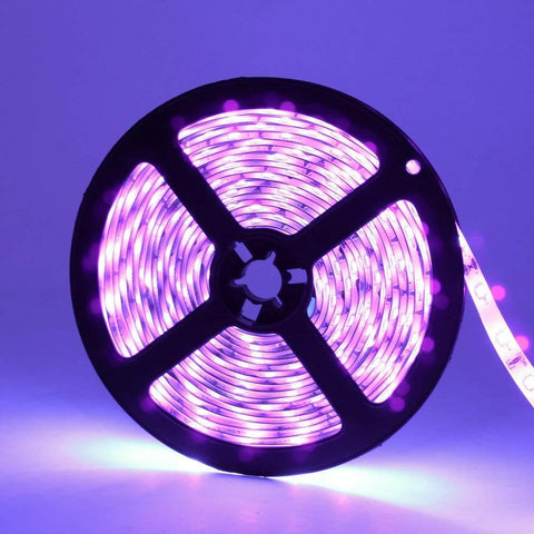 Image of 60W UV Black Light LED Strip, 16.4FT/5M 3528 600LEDs 395nm-405nm Waterproof IP65 Night Fishing Sterilization implicitly Party with 12V 5A PowerSupply