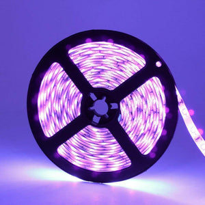 60W UV Black Light LED Strip, 16.4FT/5M 3528 600LEDs 395nm-405nm Waterproof IP65 Night Fishing Sterilization implicitly Party with 12V 5A PowerSupply
