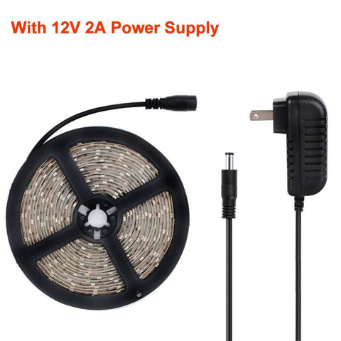 Image of 24 W 16.4FT/5M UV 3528 300LEDs 395nm-405nm Waterproof IP65 Night FishingLight LED Strip Sterilization implicitly Party with 12V 2A PowerSupply