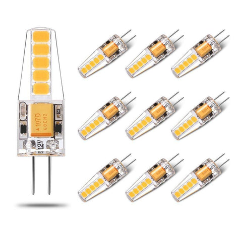 Image of 10 Pack G4 LED Light Bulb Bi-Pin base Silicon Encapsulation 12V 2 Watt CRI>80 200-220Lumen 10x2835 LEDs AC/DC10-20V 20W Equivalent Halogen LED Replacement