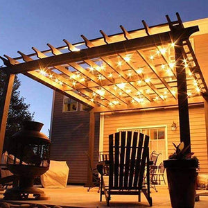 Dimmable Waterproof LED Outdoor String Lights - Hanging, 2W Edison Bulbs - 48Ft Commercial Lights for Decor for Patio, Backyard, Garden, Bistro S14 Black - Warm White, with Dimmer, Complete Led String Lights Kit(2Pack-48FT And 1pcs Dimmer)