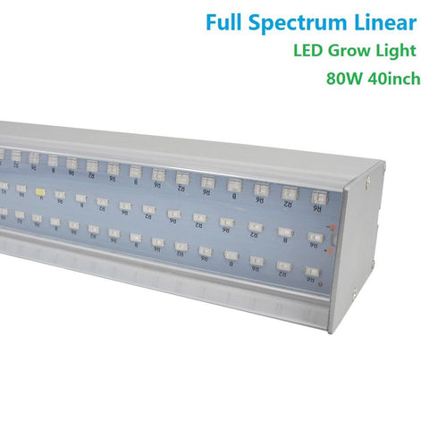 80W 40'' Full Spectrum Linear LED Grow Light Strip 6 Bands with IR & UV included, Adjustable Hanger, Idea for Greenhouse, Vegetables & Fruits, Horticulture, Propagation and City Farming