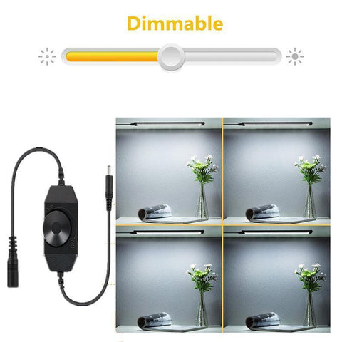 1 PACK 7mm Thick Silver Finish LED Under Cabinet Lighting Dimmable Kit CRI90 300LM SMD2835 12V 5W with Dimmer & Power Supply Included