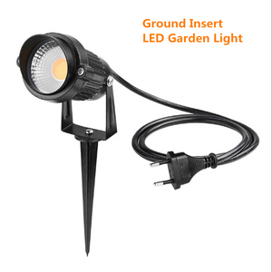 FREE SHIPPING 5 PACK of 5W Outdoor IP65 Ground Inserted / Seated LED Garden Light Bullet Head Black Color Finish 85-265V AC Non-Dimmable with Plug and Play Power Cord