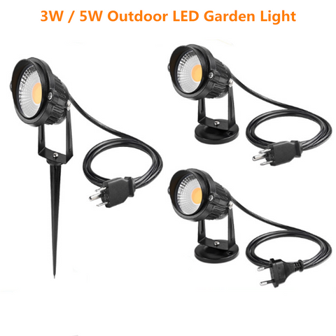 Image of FREE SHIPPING 5 PACK of 5W Outdoor IP65 Ground Inserted / Seated LED Garden Light Bullet Head Black Color Finish 85-265V AC Non-Dimmable with Plug and Play Power Cord