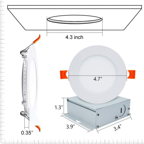 4Pack 4 Inch Ultra-Thin Recessed Ceiling Light 9W 650LM Dimmable LED Downlight Ceiling Light with Junction Box
