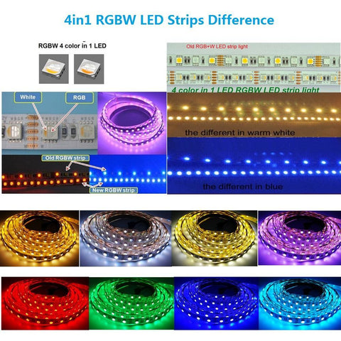 Image of DC 12V RGBW/RGBWW High Density 60LEDs 19.2W per Meter 4in1 SMD5050 RGBW LED Flexible Strip Light