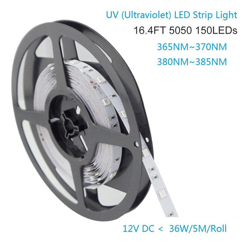 Image of 365nm & 380nm SMD5050-150 12V 3A 36W UV (Ultraviolet) LED Strip Light  Flex White PCB Ideal for UV Curing, Currency Validation, Medical Field