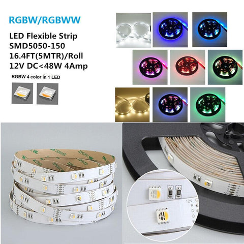 Image of DC 12V RGBW/RGBWW High Density 30LEDs 9.6W per Meter 4in1 SMD5050 RGBW LED Flexible Strip Light
