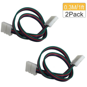 2 Pack Solderless Jumper Snap Down 4Conductor LED Strip Connectors for 10mm Wide SMD5050 RGB Color Flex LED Strips