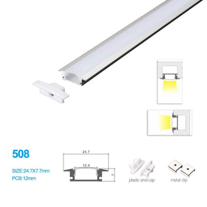 5/10/25/50 Pack   24.7MM*7MM ceiling Mouted or Wall Mounted LED Aluminum Profile with Vaulted Cover for LED Rigid Strip Lighting System