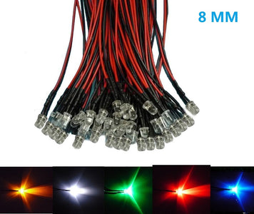 50pcs Pack 8mm LED Pre Wired light 3V/6V/12V/24V 20cm F10 Straw Hat Round Top Bulbs Light Lamp for DIY Car Boat Toys Party lighting Project