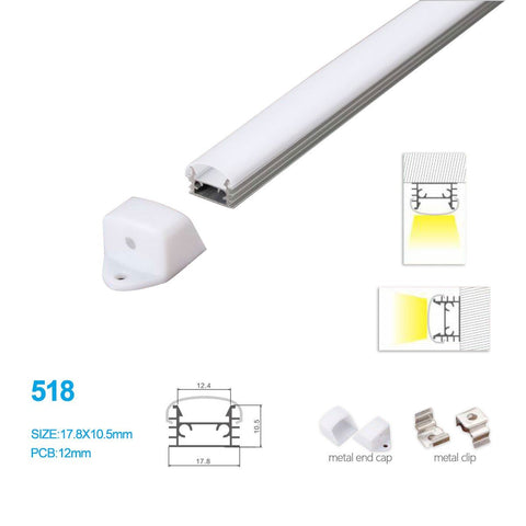 5/10/25/50 Pack 17.8MM*10.5MM LED Aluminum Profile Surface Mounting for LED Rigid Strip Lighting System