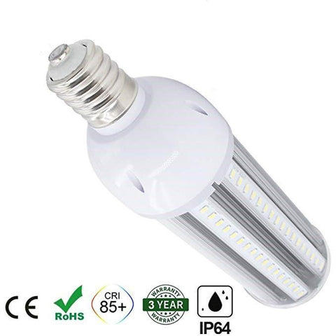 Image of LED Corn Light Bulb, E39 Medium Screw Base, Metal Halide Replacement for Indoor Outdoor Large Area Lighting, Street and Area Light, HID, Hp