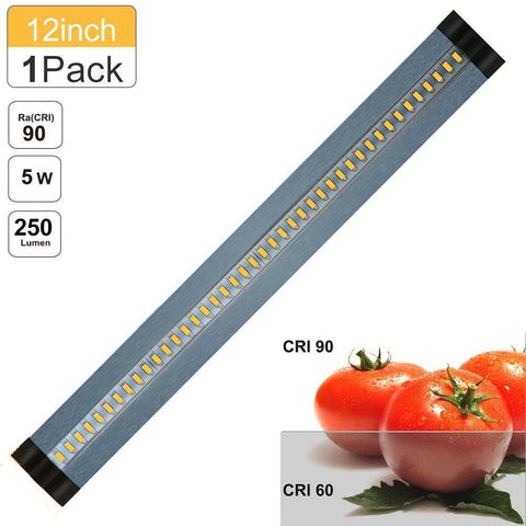 Image of 12inch CRI90 SMD2835 5W 300LM Dimmable LED Under Cabinet Light DC 5V / 12V Black & Silver Finish Color Ultra Thin Stick On Under Counter Lighting